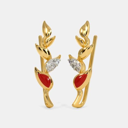 The Heliconia Bihai Ear Cuffs