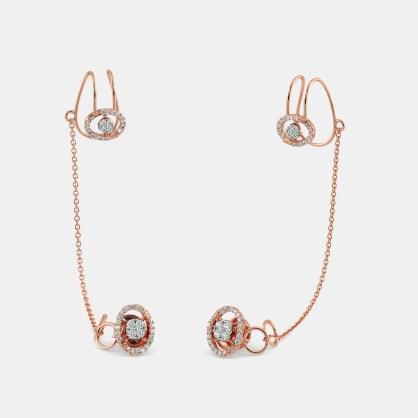 The Caroline Stud Chain Clips Earrings